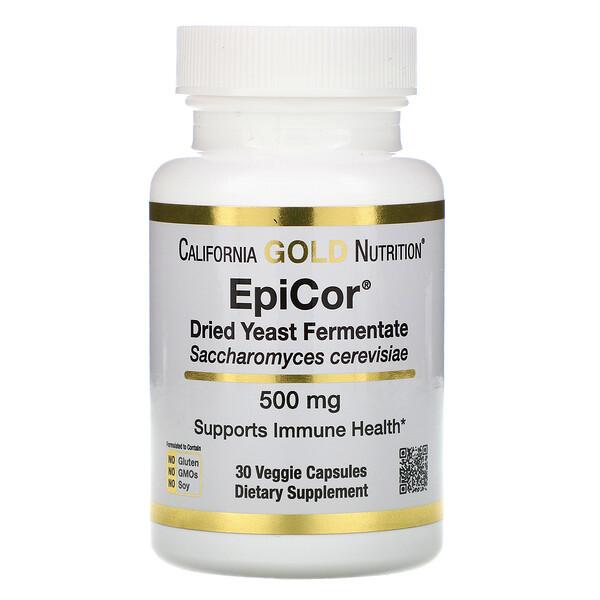"""EpiCor,  תסיסת שמרים יבשים, 500 מ""""ג, 30 כמוסות צמחיות"""