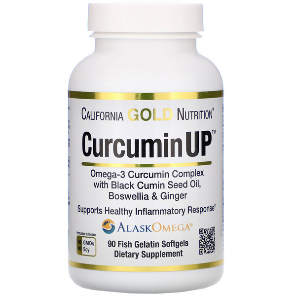 California Gold Nutrition, CurcuminUP, Omega-3 Curcumin Complex, Inflammation Support, 90 Fish Gelatin Softgels