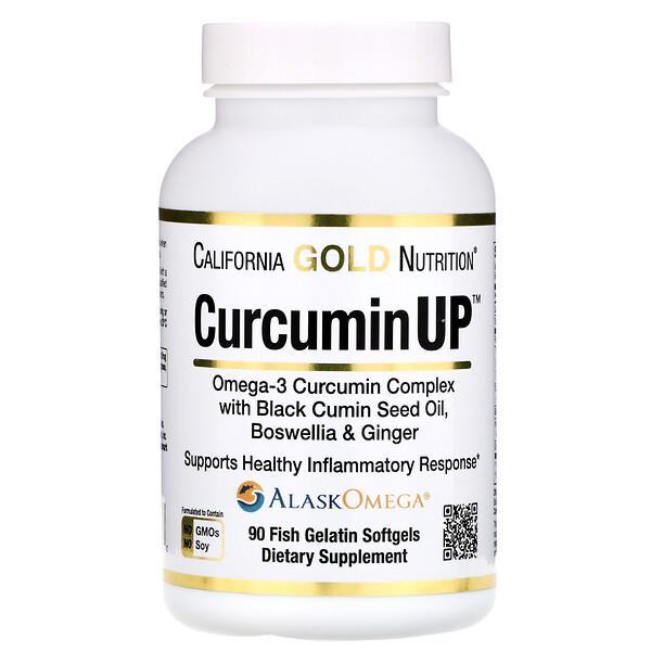 California Gold Nutrition, CurcuminUP, Omega-3 Curcumin Complex, Inflammation Support, 90 Fish Gelatin Softgels