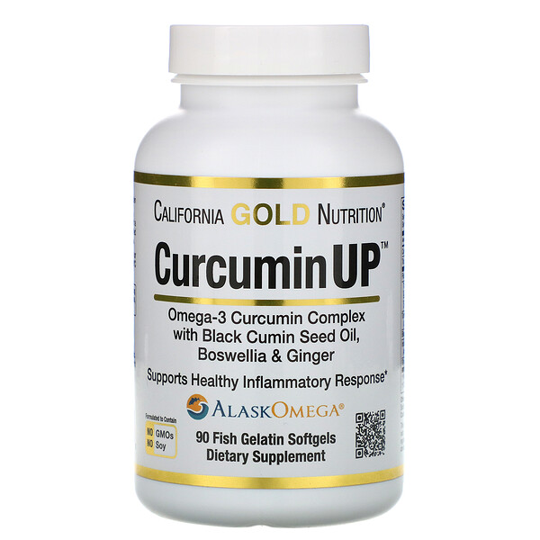 CurcuminUP, Omega-3 Curcumin Complex, Inflammation Support, 90 Fish Gelatin Softgels