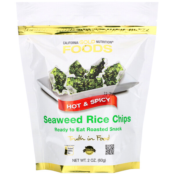 California Gold Nutrition, Seaweed Rice Chips, Hot & Spicy, 2 oz (60 g)