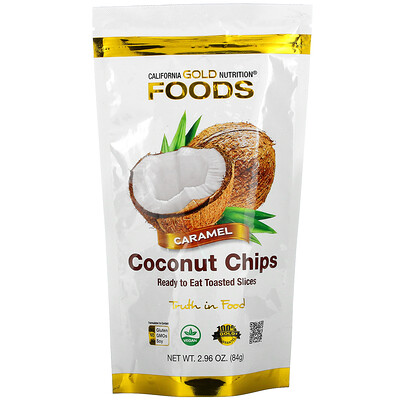Купить California Gold Nutrition Coconut Chips, Caramel, 2.96 oz (84 g)