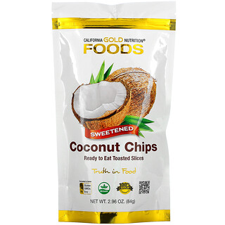 California Gold Nutrition, Toasted Coconut Chips, Refined Sugar, 2.96 oz (84 g)*