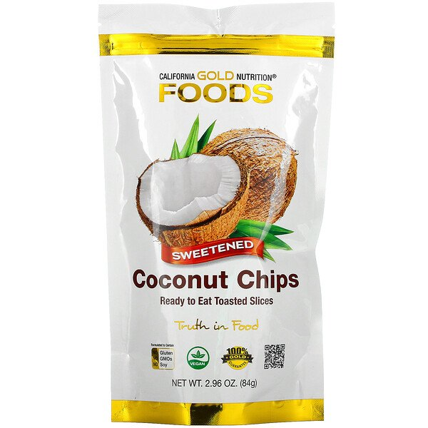 Coconut Chips, Sweetened,  2.96 oz (84 g)