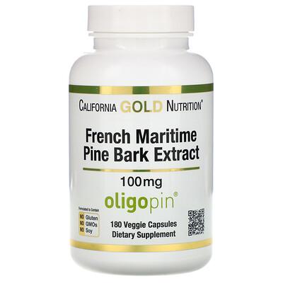 Купить California Gold Nutrition Экстракт из коры французской приморской сосны, Oligopin, антиоксидантные полифенолы, 100 мг, 180 вегетарианских капсул