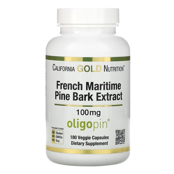 California Gold Nutrition, フランスカイガンショウ樹皮エキス、Oligopin(オリゴピン)、体の還元をサポートするポリフェノール、100mg、ベジカプセル180粒