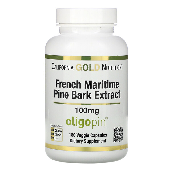 French Maritime Pine Bark Extract, Oligopin, Antioxidant Polyphenol, 100 mg, 180 Veggie Capsules