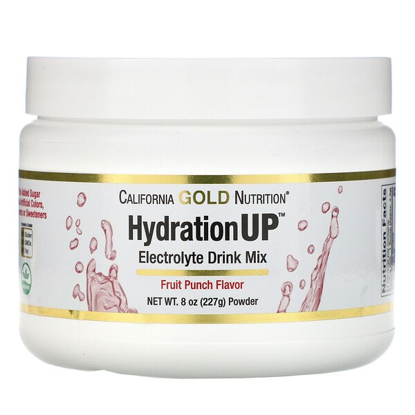 California Gold Nutrition, HydrationUP, Electrolyte Drink Mix Powder, Fruit Punch, 8 oz (227 g)