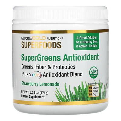 California Gold Nutrition SUPERFOOD - Supergreens Antioxidant, Greens, Fiber & Probiotics, Strawberry Lemonade, 6.03 oz (171 g)