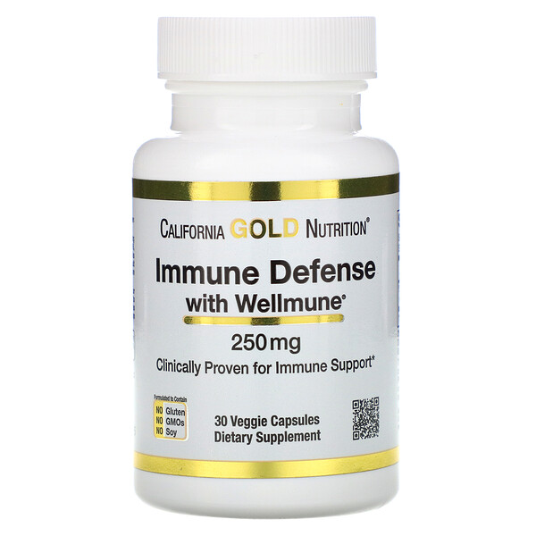 California Gold Nutrition, Immune Defense with Wellmune, Beta-Glucan, 250 mg , 30 Veggie Capsules