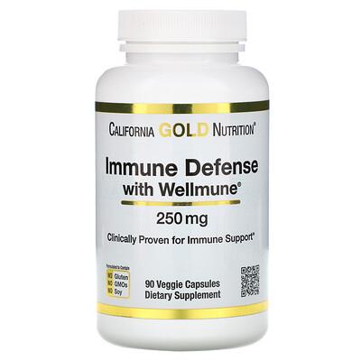 Купить California Gold Nutrition Защита иммунной системы с помощью Wellmune, бета-глюкан, 250 мг, 90 растительных капсул