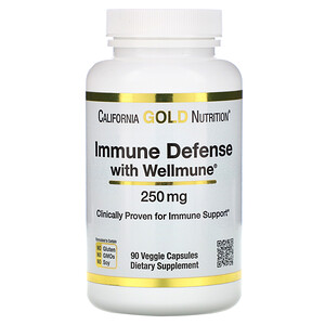 California Gold Nutrition, Immune Defense with Wellmune, Beta-Glucan, 250 mg,  90 Veggie Capsules