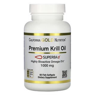 California Gold Nutrition, SUPERBA2 Premium Krill Oil, 1000 mg, 60 Softgels