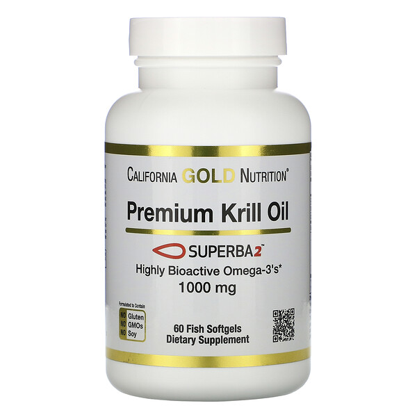 California Gold Nutrition, SUPERBA2 Premium Krill Oil, 1000 mg, 60 Softgels