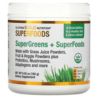 California Gold Nutrition, SUPERFOODS - Supergreens + Superfoods, 6.42 oz (182 g)