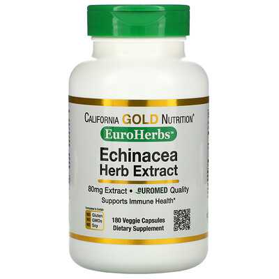 California Gold Nutrition EuroHerbs, экстракт эхинацеи, 80мг, 180вегетарианских капсул