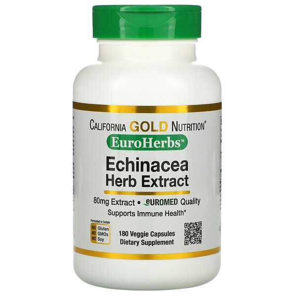 California Gold Nutrition, EuroHerbs, Echinacea Herb Extract, 80 mg, 180 Veggie Capsules