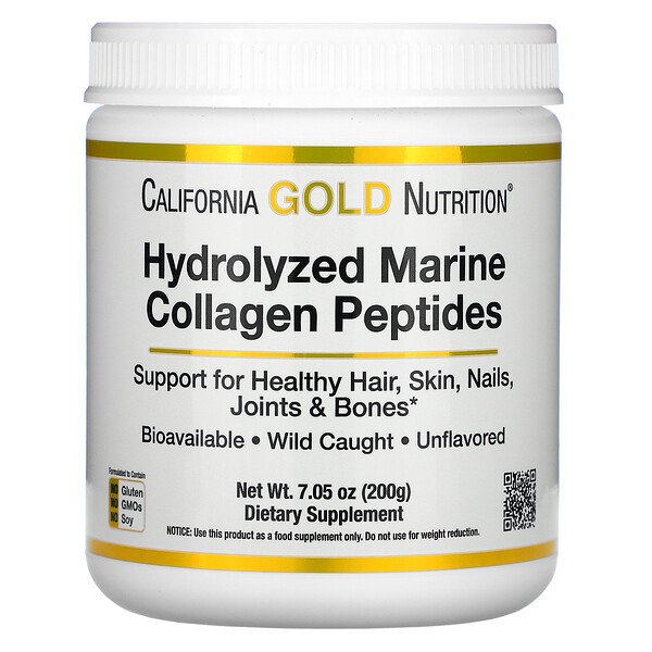 California Gold Nutrition, Hydrolyzed Marine Collagen Peptides, Unflavored,  7.05 oz (200 g)
