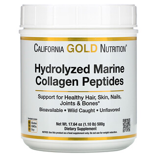 California Gold Nutrition, Hydrolyzed Marine Collagen Peptides, Unflavored, 17.64 oz (500 g)