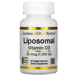 California Gold Nutrition, Liposomal Vitamin D3, 25 mcg (1,000 IU ), 60 Veggie Capsules