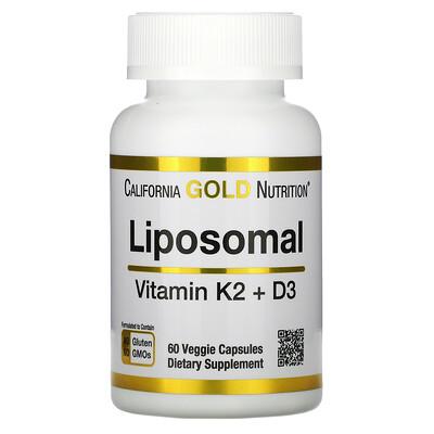 Купить California Gold Nutrition липосомальные витаминыK2иD3, 60вегетарианских капсул
