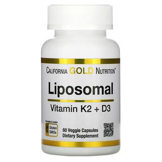 California Gold Nutrition, Liposomal Vitamin K2+ D3, 60 Veggie Capsules