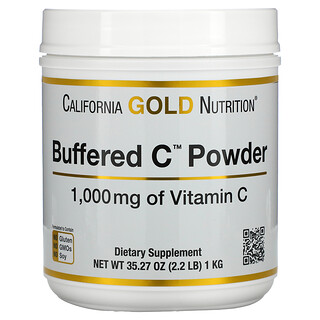 California Gold Nutrition, Buffered Gold C, gepuffertes GoldC, nicht saures Vitamin-C-Pulver, Natriumascorbat, 1.000mg, 1kg (2,2lbs.)