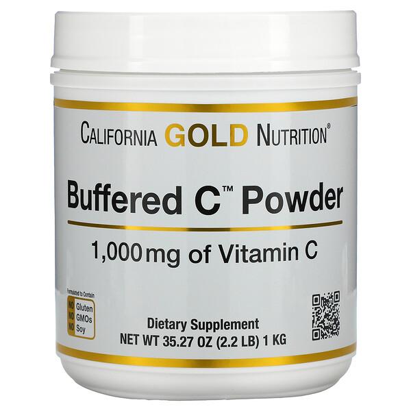 California Gold Nutrition, GoldC tamponnée, VitamineC non acide en poudre, Ascorbate de sodium, 1000mg, 1kg