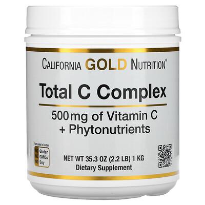 California Gold Nutrition Total C Complex, Vitamin C + Phytonutrients, 500 mg, 2.2 lb (1 kg)