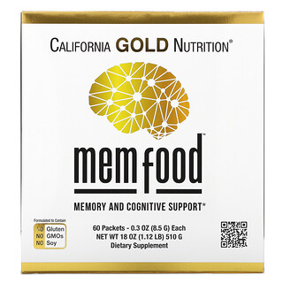 California Gold Nutrition, MEM Food, Memory and Cognitive Support, 60 Packets, 0.3 oz (8.5 g) Each