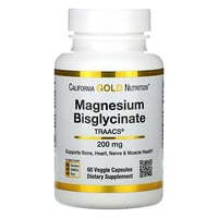 California Gold Nutrition, Magnesium Bisglycinate, 200 mg, 60 Veggie Capsules