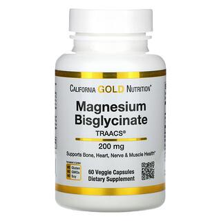 California Gold Nutrition, 双甘氨酸镁,60 粒素食胶囊