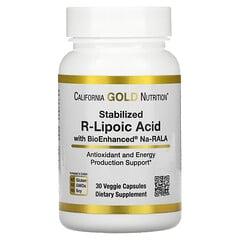 California Gold Nutrition, 穩定化 R-硫辛酸,30 粒素食膠囊