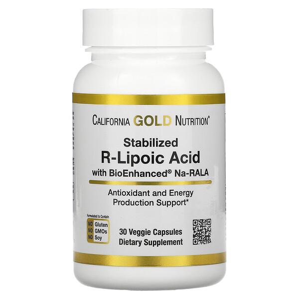 California Gold Nutrition, Stabilized R-Lipoic Acid, 30 Veggie Capsules