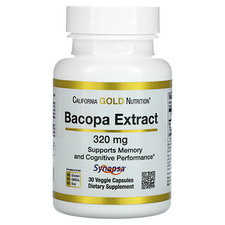 California Gold Nutrition, Bacopa Extract, 320 mg, 30 Veggie Capsules