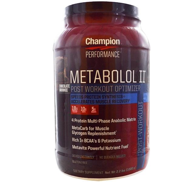 Champion Nutrition, Metabolol II,鍛煉後優化劑,巧克力布朗尼,2、2磅(1000克)