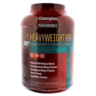 Champion Nutrition, Heavyweight Gainer 900, Chocolate Brownie, 7 lbs (3.175 g)
