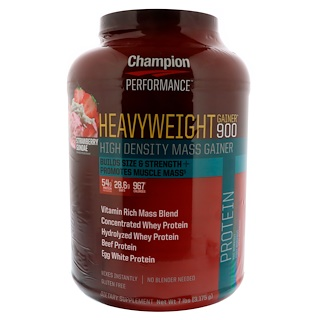 Champion Nutrition, Heavyweight Gainer 900, Strawberry Sundae, 7 lbs (3,175 g)