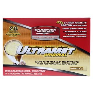 Champion Nutrition, Ultramet Original, High-Protein Meal Supplement, Vanilla, 20 Packets, 2.7 oz (76 g) Each