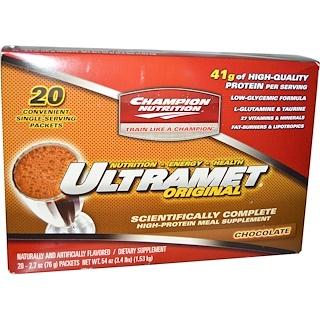 Champion Nutrition, Ultramet Original, High-Protein Meal Supplement, Chocolate, 20 Packets, 2.7 oz (76 g) Each
