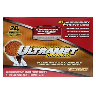 Champion Nutrition, Ultramet Original, High-Protein Meal Supplement, Chocolate, 20 Packets, 2.7 oz (76 g) Each