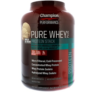Champion Nutrition, Pure Whey Plus, Vanilla Ice Cream, 4.8 lbs (2.2 kg)