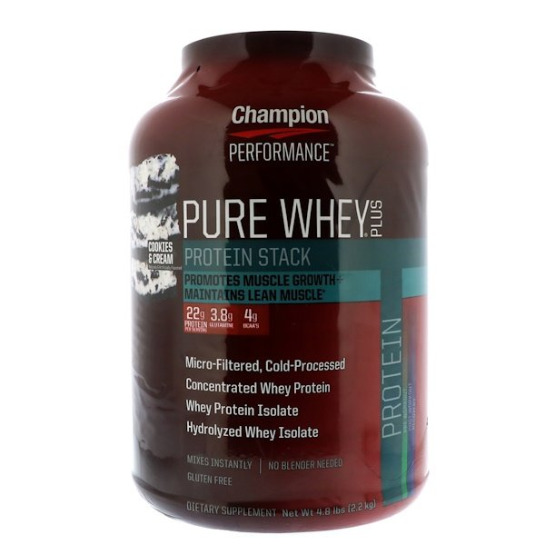 Champion Nutrition, PURE WHEY PLUS, Cookies & Cream, 4、8 lbs (2、2 kg)