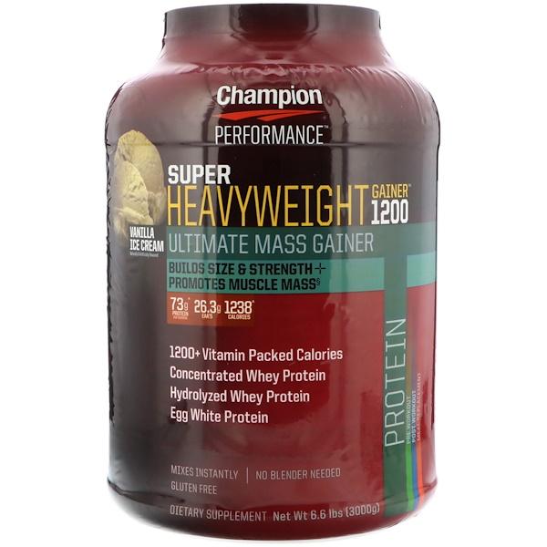 Champion Nutrition, Super Heavyweight Gainer 1200, Vanilla Ice Cream, 6.6 lb (3000 g) (Discontinued Item)