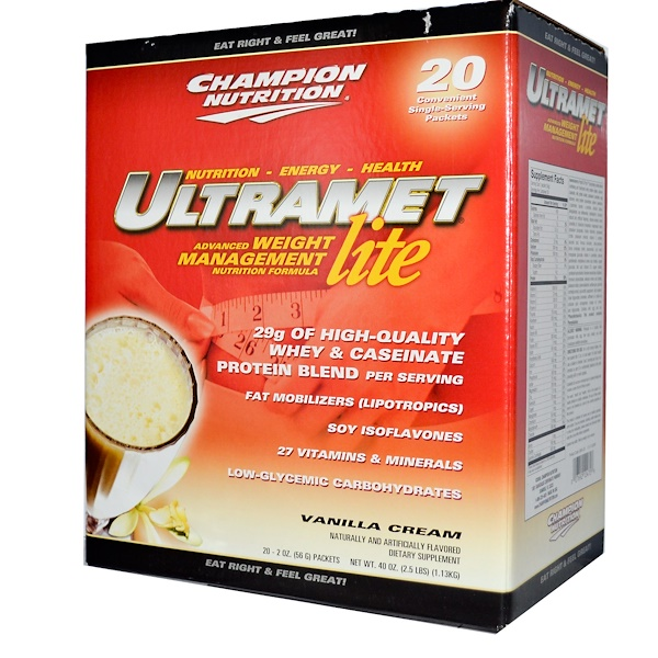Champion Nutrition, Ultramet Lite, Weight Management Formula, Vanilla Cream, 20 Packets, 56 g Each  (Discontinued Item)