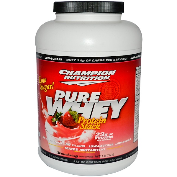 Champion Nutrition, Pure Whey Protein Stack, Strawberry, 5 lbs (2.27 kg) (Discontinued Item)