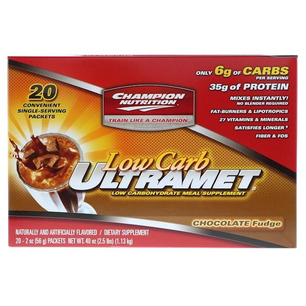 Champion Nutrition, Low Carb Ultramet,低碳代餐,巧克力軟糖口味,20 袋,每袋 2 盎司(56 克)