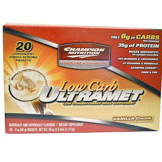 Champion Nutrition, Low Carb Ultramet, Meal Supplement, Vanilla Cream, 20 Packets, 2 oz (56 g) Each