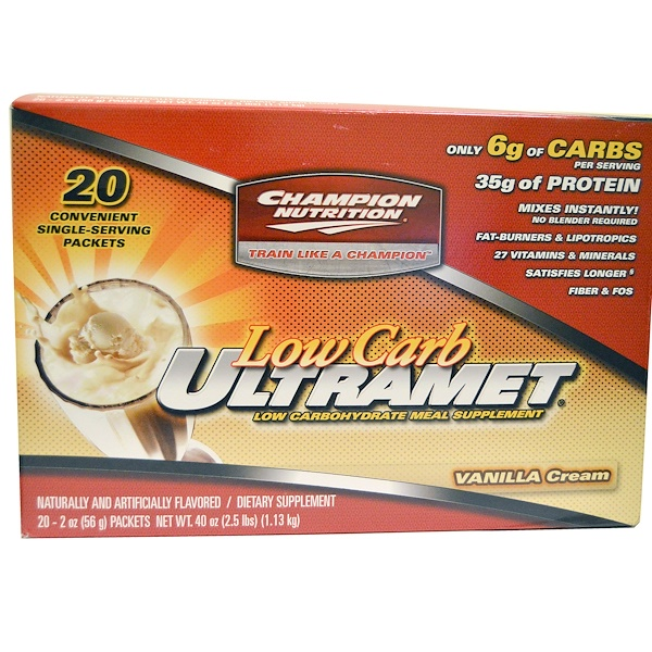 Champion Nutrition, Lowcarb Ultramet, Meal Supplement, Vanilla Cream, 20 Packets, 2 oz (56 g) Each (Discontinued Item)