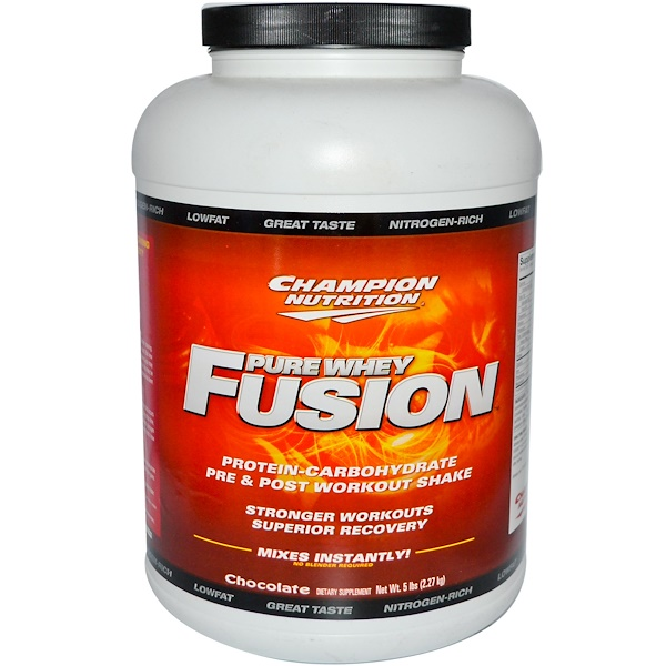 Champion Nutrition, Pure Whey Fusion, Pre & Post Workout Shake, Chocolate, 5 lbs (2.27 kg) (Discontinued Item)
